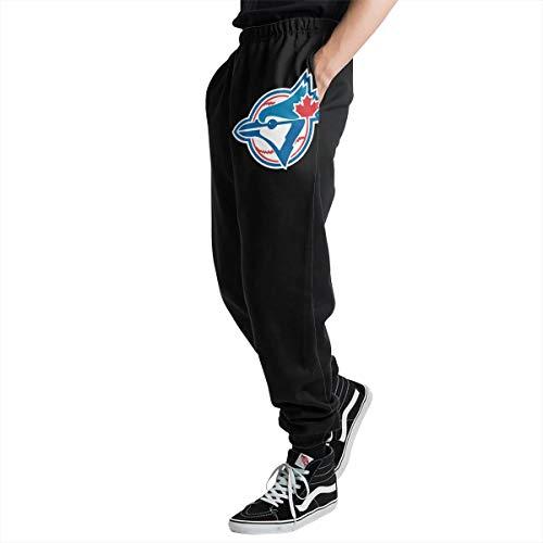 Toronto Bl-ue JaysPlatinum Logo Men's Casual Jogger Sweatpants Sports Trousers Pant Elastic Waist XL ()