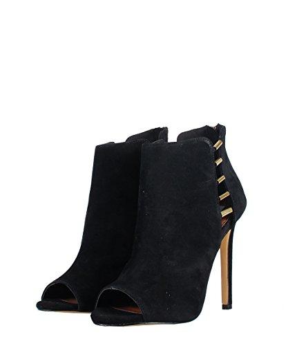 Steve Madden Lola Black Suede Shoes–Sandalias negras ante detalles dorado negro