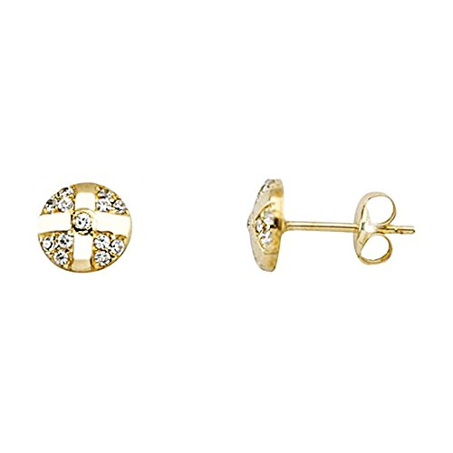 Boucled'oreille 18k or lisses bandes zircons [AA6194]