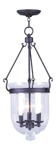 (Livex Lighting 5064-07 Jefferson 3 Light Bronze Bell Jar Hanging Lantern with Clear Glass)