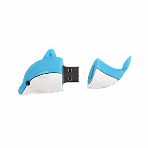 Coohole 2GB Mini Cute Dolphin USB 2.0 Flash Memory Stick Pen Drive Storage U Disk Blue ()