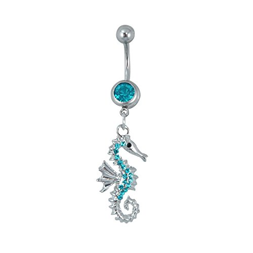 Seahorse Dangle Hypoallergenic Surgical Steel Rhodium Plated 14G 3/8 Bar Length Belly Button Ring With Cubic Zirconia Jewels Fashion BNR1026AQ