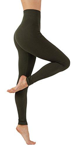 010 Green - Vesi Star Women's Soft Cotton Yoga Pants Flexible Exercise Workout Leggings (L/XL USA 6-10, VS/010-D.Olive)