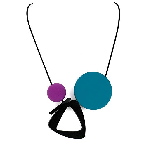 Comelyjewel Fashion Jewelry Girls Boho Long Round Triangle Acrylic Charms Bubble Statement Necklace for Women (Blue Purple)
