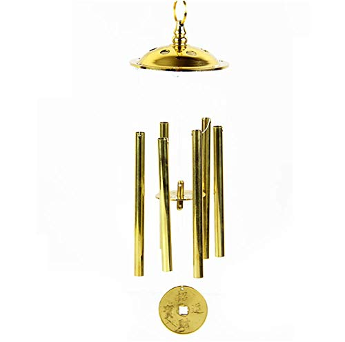 - xiulin Feng Shui Six Tubes Brass Wind Chimes Eight Diagrams of Wind Bell Felicitous Wish of Making Money Bless and Protect People Home Furnishing Handicraft Lucky red String Set