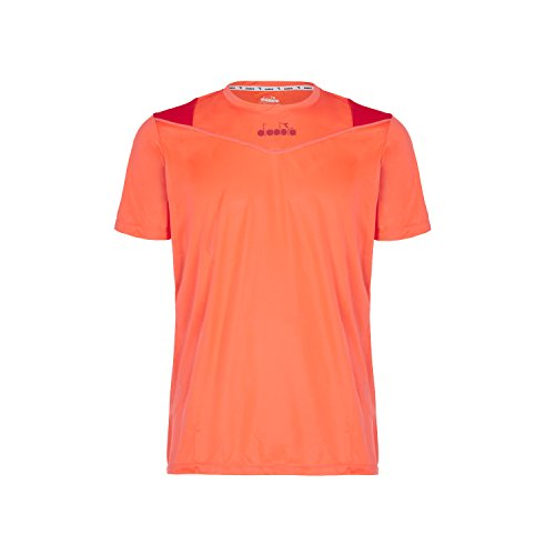 Diadora 102172840 X-Run Short Sleeve Camiseta, Hombre Light Orange Fluo