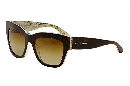 D&G Dolce & Gabbana Women's Almond Flowers Polarized Square Sunglasses, Havana,Aqua Peach Flower & Polarized Brown Gradient, 54 - Spectacles Gabbana Dolce