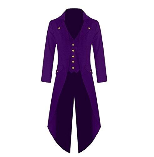Coolred-Men Victorian Steampunk Maxi and Midi Dress Blazer Tail Tuxedo Purple 2XL