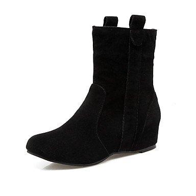 Mujer Negro Amarillo Botas 2'5 Tacón Cuña Cordón Con Invierno Vestido amp;xuezi Paseo Rojo Otoño Casual Gll Black Cms 4'5 Semicuero Gris Confort wqnaA5A6C