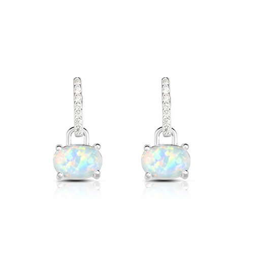 Sterling Silver Oval Synthetic Opal And Cubic Zirconia Drop Bar Designer Earrings. (Natural Silver) -