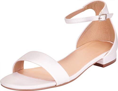 White Polyurethane Strap - Cambridge Select Women's Single Band Buckled Ankle Strap Low Block Heel Sandal,7.5 B(M) US,White PU