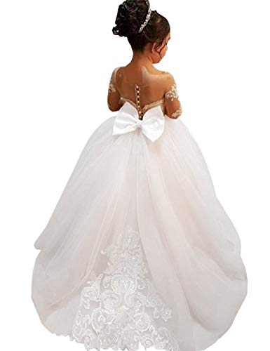 MuchXi Lovely Lace Flower Girls Dresses Kids First Communion Dress Princess Wedding Pageant Ball Gown Ivory 8