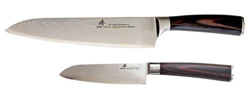 ZHEN Japanese Damascus VG-10 Steel 2 Piece Boxed Classic Starter 8'' Gyuto Chef's and Santoku Knife Set, Pakkawood, Silver by ZHEN