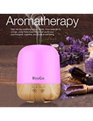 Essential Oil Diffuser, RyuGo 300ml Aroma Ultrasonic Cool Mist Humidifier Oil Diffuser with 7 Color Led Night Light