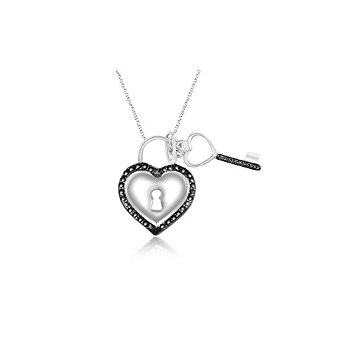- Black Diamond Accent Heart Key Pendant in Silver with Black Rhodium