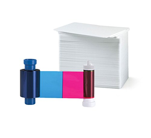 Magicard MA100YMCKO Color Ribbon - YMCKO - 100 Prints with Bodno Premium CR80 30 Mil Graphic Quality PVC Cards - Qty 100