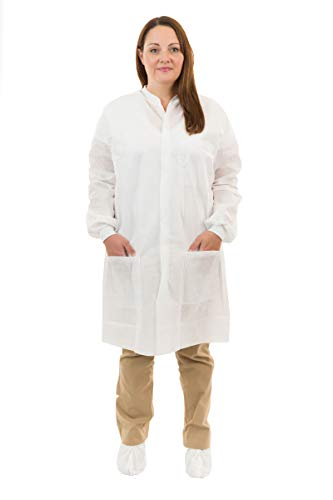 International Enviroguard Disposable White SMS Lab Coats | Medical | Dental (3 Pockets, Knit Wrist) (Medium, Case of 50) by International Enviroguard (Image #1)