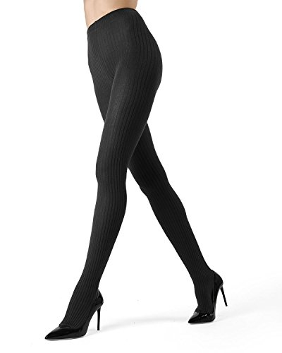 MeMoi Boston Ribbed Sweater Tights | Womens Winter Hosiery - Pantyhose Dark Grey Heather MO 327 -