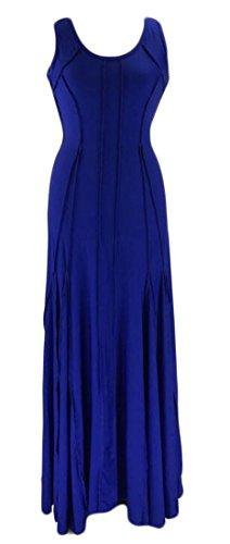 Sleeveless Dress Womens Fashion Crewneck Flared Swing Cromoncent Pleated Royal Blue Maxi 84qpdEw8