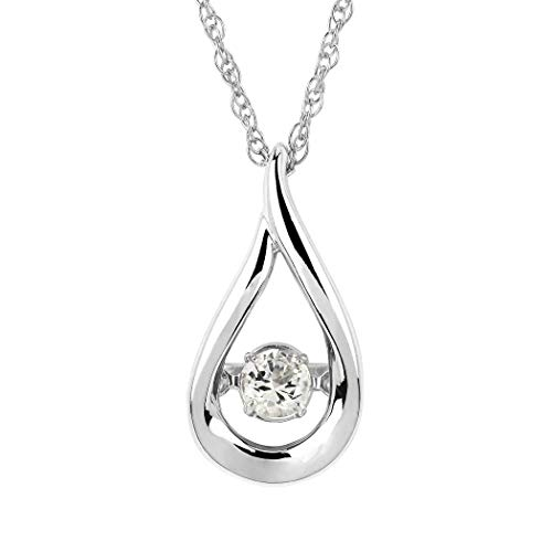 Brilliance in Motion 925 Sterling Silver Dancing White Sapphire April Birthstone Pendant Necklace with 18