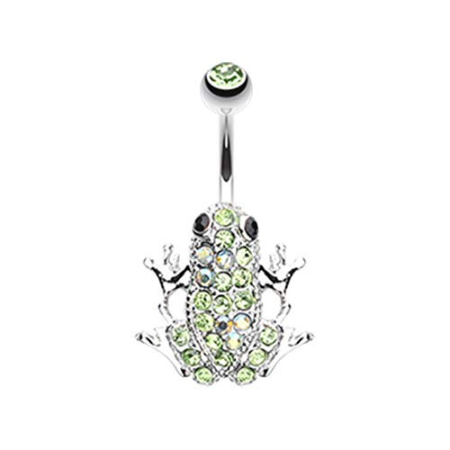 (14 GA Amazon Frog Multi-Gem Non Dangle Belly Button Ring (Davana Enterprises) (14GA Light Green/Aurora Borealis))