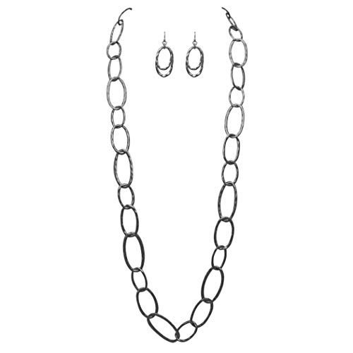 Rosemarie Collections Women's Long Hammered Links Statement Necklace and Earrings Gift Set (Hematite Tone)