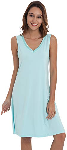 - GYS Womens Bamboo Viscose Sleeveless V Neck Nightgown (L, Green)