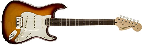 (Squier by Fender Standard Stratocaster Beginner Electric Guitar - Flame Maple Top - Amber Sunburst)