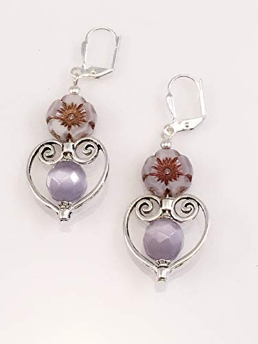 Earrings Casual Purple (Purple Czech Glass Flower Earrings)