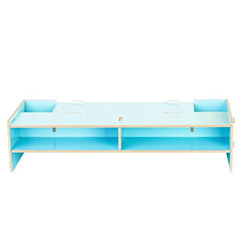 2017 NEW Computer Monitor Stand Riser,Wooden Desk Organiser Unit Novelty Moisture proof Stand with 2 Tiers Storage A4 paper keyboard Books Laptop Riser Shelves (Blue) - Notebook Keyboard Unit