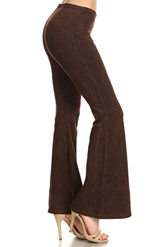 Zoozie LA Women's Bell Bottoms Tie Dye and High Waist  Yoga Pants, Brown, X-Large/1X-Large ()