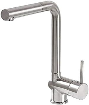 VAF Armatur 8 Edelstahlfinish Einhebelmischer Wasserhahn Hochdruck  Ausziehbare Brause Küche Spüle Mischbatterie Kran Wasserkran