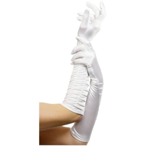 [Fever Women's Long Gloves, White, One Size, Temptress Gloves, 26279] (Sexy Devil Lady Costumes)
