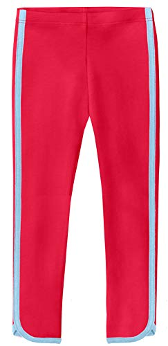 City Threads Girls' Trim Leggings 100% Cotton for School Uniform Sports Coverage or Play Perfect for Sensitive Skin or SPD Sensory Friendly Clothing, Candy Apple - Bright Light Blue Trim, 12/18M]()