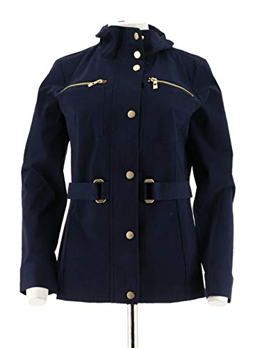 Belle Kim Gravel Signature Belted Jacket Zipper Pckts Twilight XXS # A288753