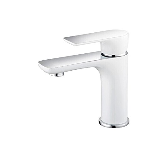 Dailyart 9/16 Single Handle Bathroom Sink Faucet Lavatory Faucet for Bathroom Basin Mixer, White Finish, Solid Brass