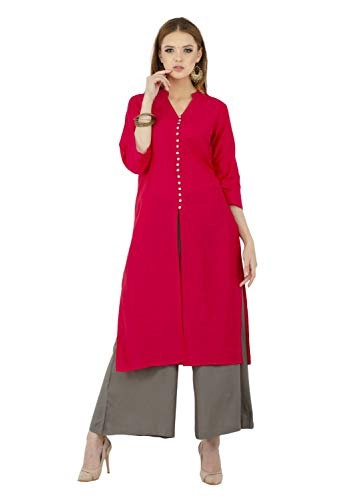 Lagi Kurtis Ethnic Women Kurta Kurti Tunic DigitA Print Printed Straight A-line Top Dress Casua Wear New Launch (Magenta-L)