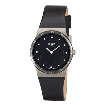Boccia B3202-02 Ladies Titanium Black Leather Strap Watch