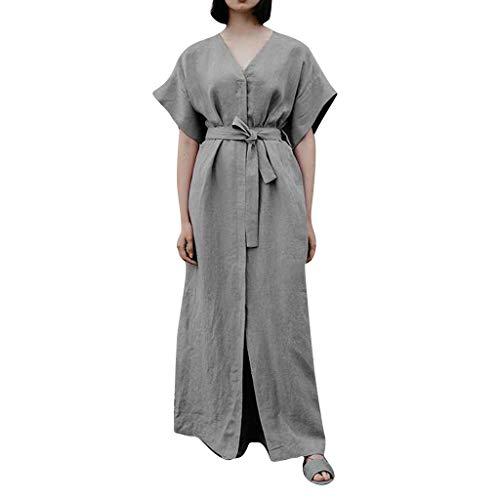Womens Plus Size Maxi Dresses Linen V Neck Short Sleeve T Shirt Dress Casual Split Summer Long Dress with Belts Gray