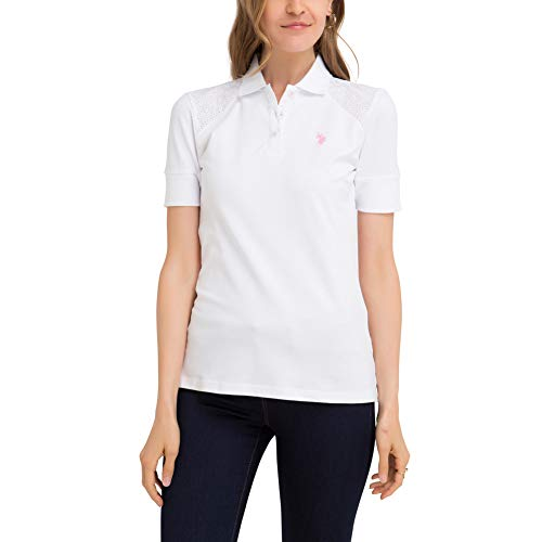 - U.S. Polo Assn. Womens Lace Shoulder Pique Polo Shirt with Eyelet Trim - Optic White, Medium