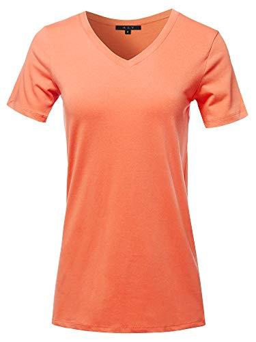 (Basic Solid Premium Cotton Short Sleeve V-Neck T Shirt Tee Tops Deep Coral 2XL)
