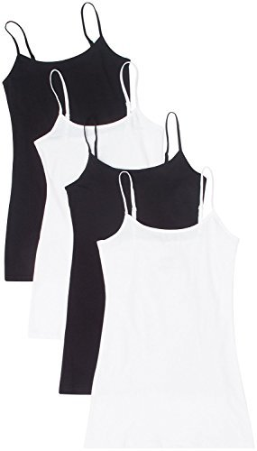 4 Pack Active Basic Women Basic Tank Tops,Black/Black/White/White,Small