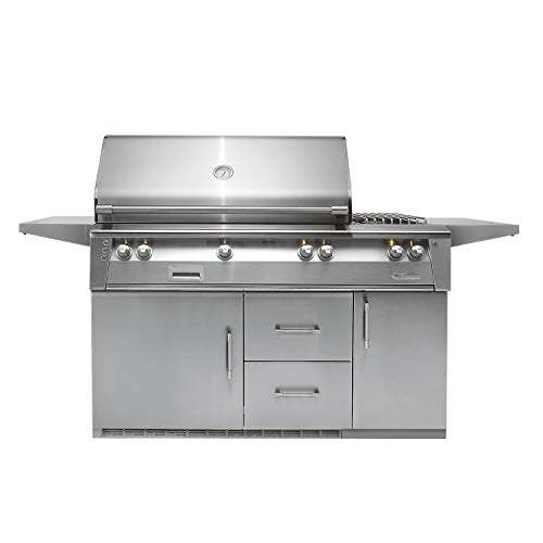 (Alfresco Refrigerated Cart Grill with Rotisserie (ALXE-56R-LP), Propane, 56-Inch)