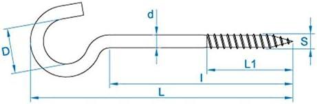 100 X Gebogene Schraubhaken 2.40x16//30 Eisen Epox wei/ß