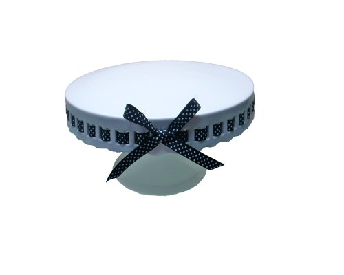 Gracie China by Coastline Imports 8-Inch Round Porcelain Skirted Cake Stand, Black and White Dots -