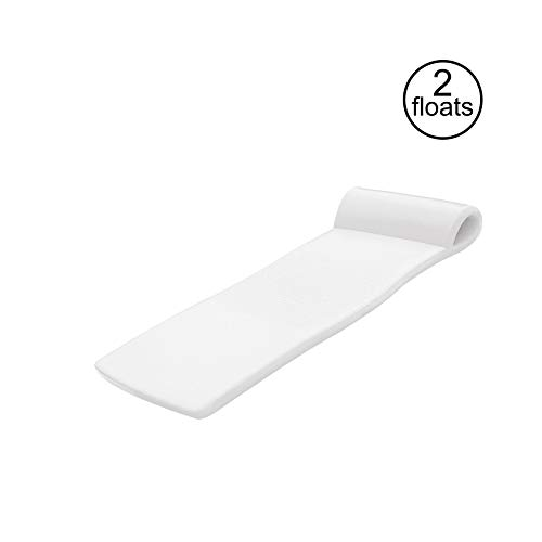 TRC Recreation Sunsation 70 Inch Thick Foam Raft Lounger Mat Pool Float, White (2 Pack)