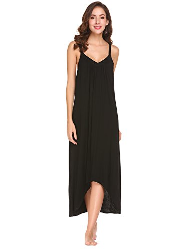 - Ekouaer Womens Sleeveless Long Nightgown Summer Slip Night Dress Cotton Sleepshirt Chemise, A-black_6696, Large