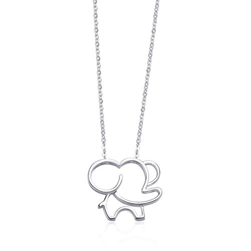 Cluster 925 Silver Pendant Setting - FANCIME White/Yellow/Rose Gold Plated 925 Sterling Silver High Polished Cute Mini Small Lucky Elephant Dainty Pendant Necklace For Women Girls, 16