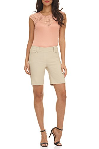 - Rekucci Women's Ease Into Comfort Perfection Modern Office Short (8,Stone)