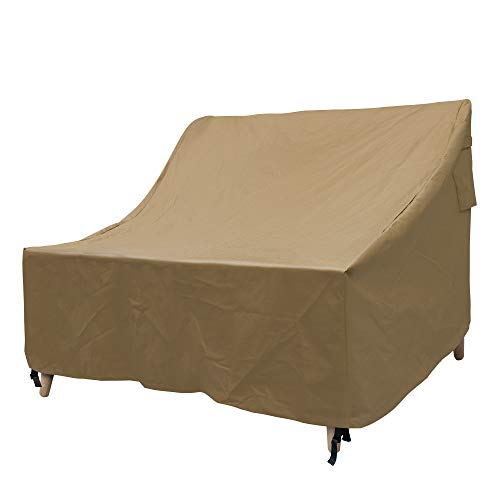 NEXTCOVER 2-Seater Deep Lounge Sofa Patio Cover-600D Canvas Heavy Duty Waterproof Fade Resistant -Tan ()